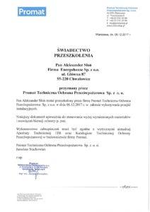 Aleksander Słoń zaświadczenie PTOP